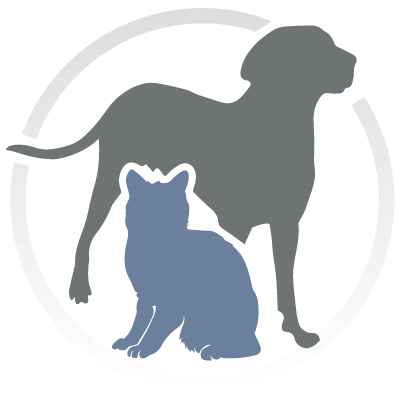 Total Care Animal Hospital. Logo is Blue and Grey with a Silver circle. Inside the cirlce is a blue cat and a grey dog.